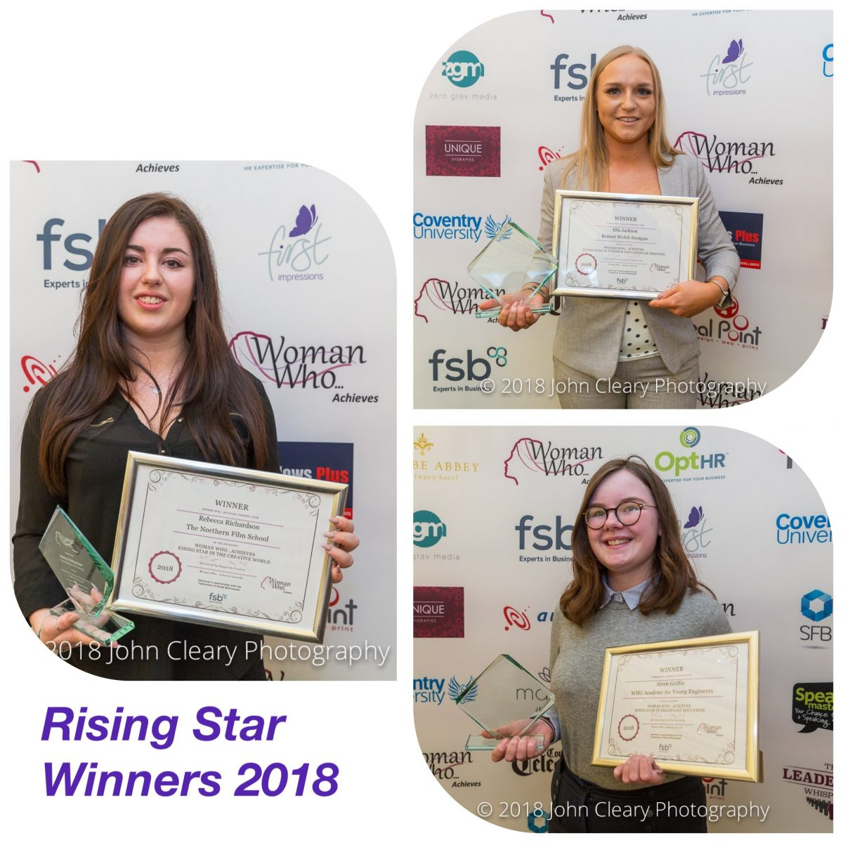 Congratulations to the Woman Who Achieves Rising Star Finalists 2019 Sponsored by Coventry University and Imaginate Creative