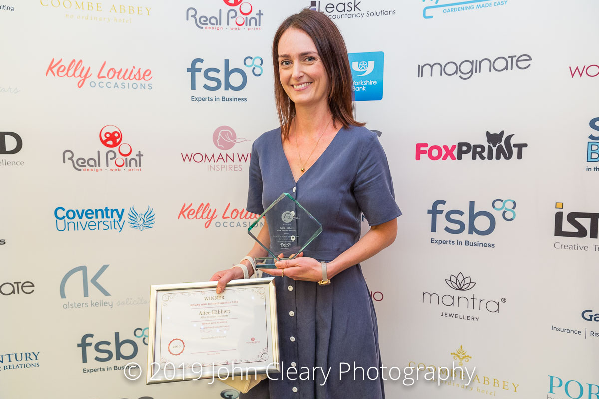 Congratulations Alice Hibbert, Alice Stewart Jewellery, Winner of the Woman Who Achieves Solopreneur (Products) Award 2019 Sponsored by XL Motors