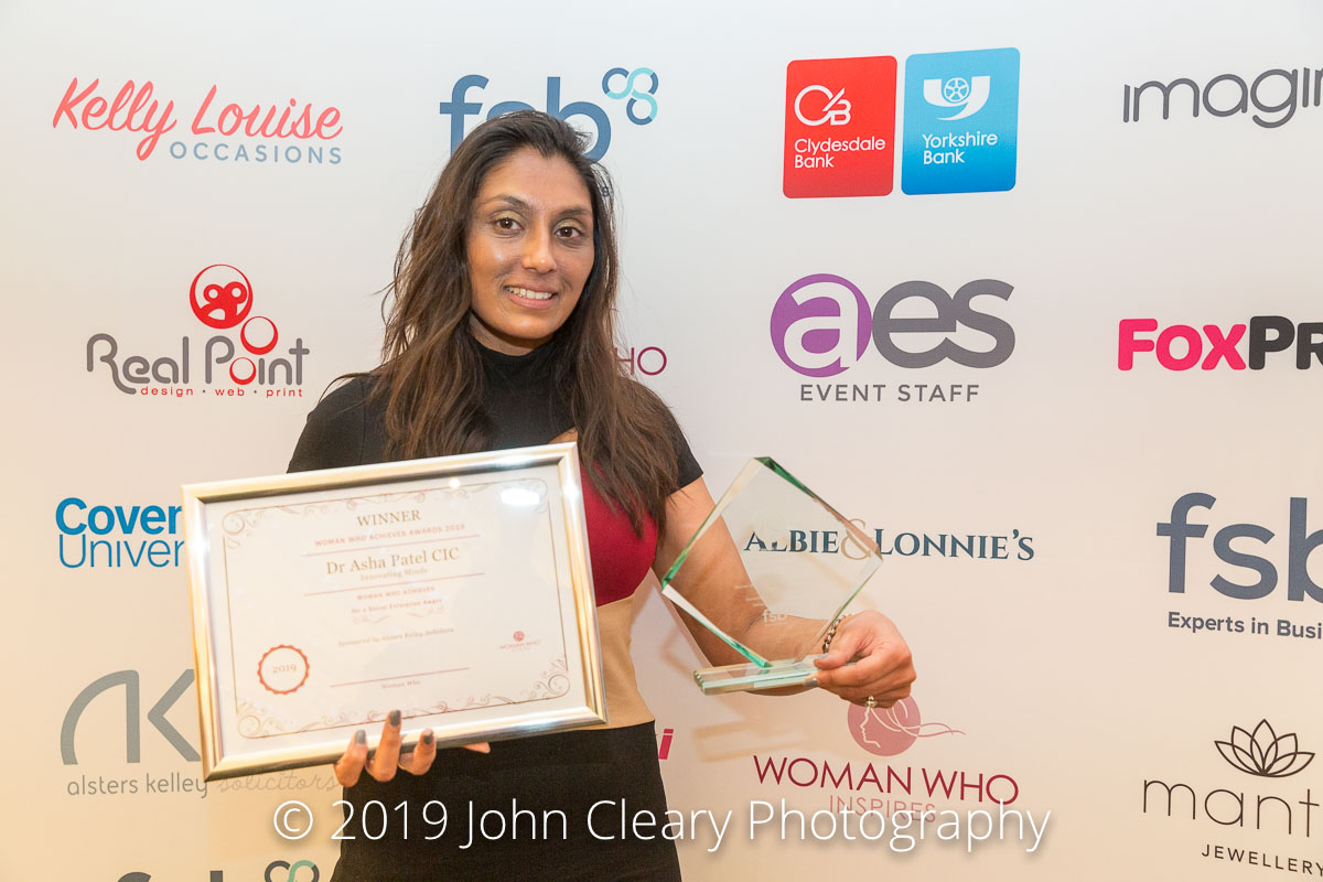 Congratulations Dr Asha Patel, Innovating Minds CIC, Winner of the Woman Who Achieves for a CIC Award 2019 Sponsored by Alsters Kelley Solicitors