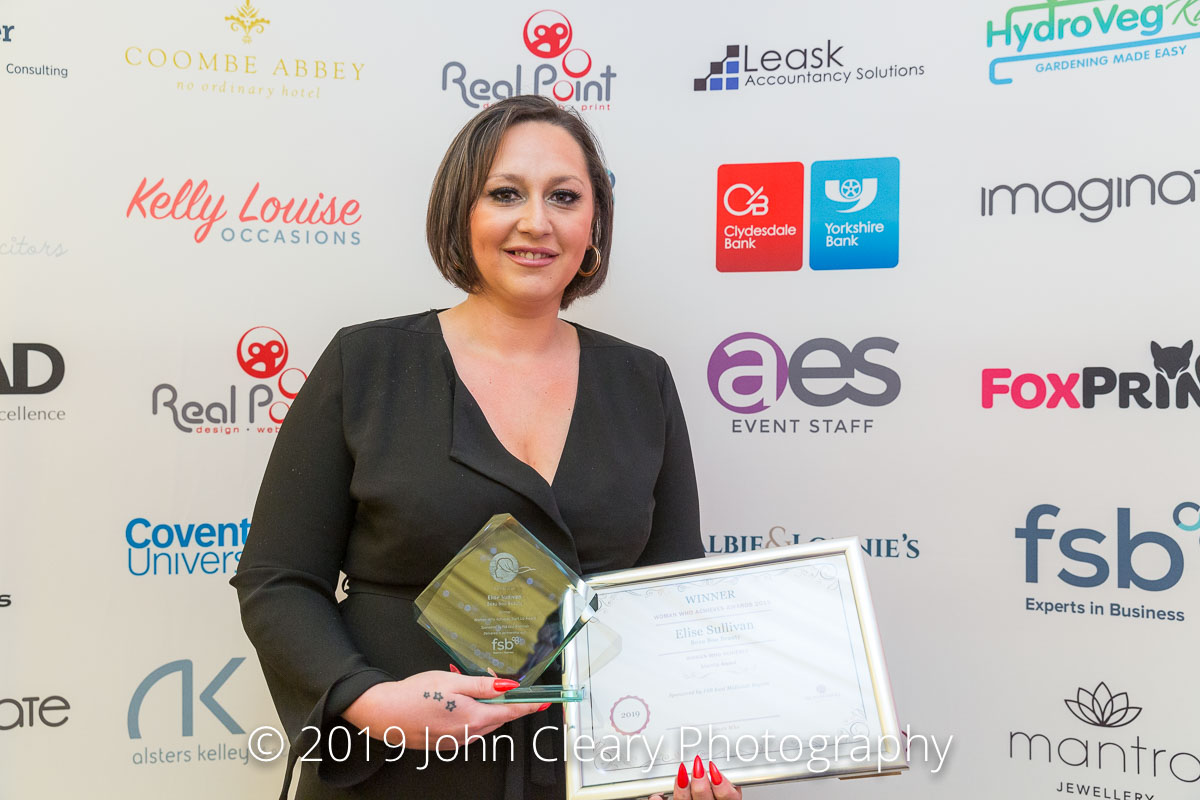 Congratulations to Elise Sullivan, Beau Boo Beauty, Winner of the Woman Who Achieves Start Up Award 2019 Sponsored by FSB