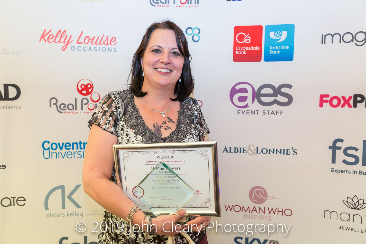 Congratulations Helena Flowers, Andel Plastics, Winner of the Woman Who Achieves in STEM Award 2019 Sponsored by Aesthetics Event Staff