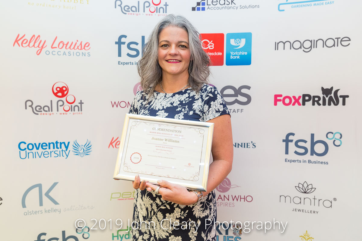 Congratulations Joanne Williams, Joco, on your Commendation in the Woman Who Achieves Micro Business Category Sponsored by FSB