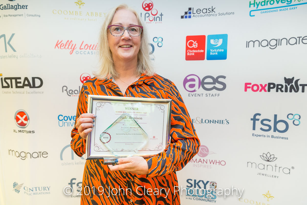 FRIDAY FEATURE: Jude Jennison, Winner of the Woman Who Achieves Solopreneur (Services) Award 2019 Sponsored by Sky Blues in the Community